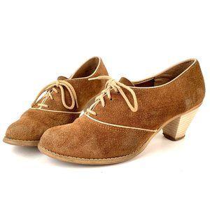 8.5 Vintage 40s Suede Cuban Heel Spectator Shoe